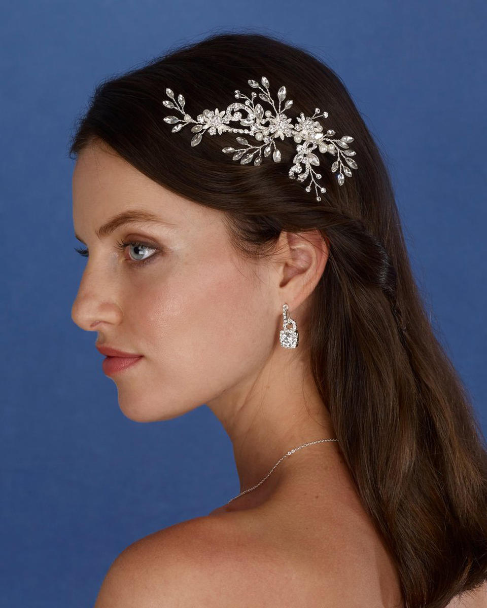 THE BRIDAL VEIL CO - Rhinestone And Pearl Spray Hair Clip
