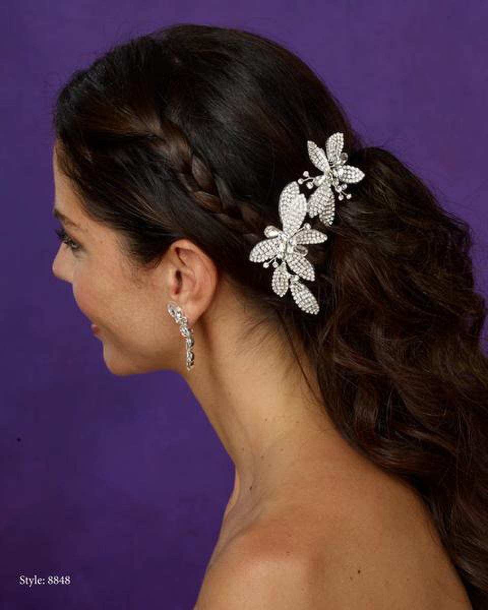 THE BRIDAL VEIL CO - Rhinestone Leaf Clip