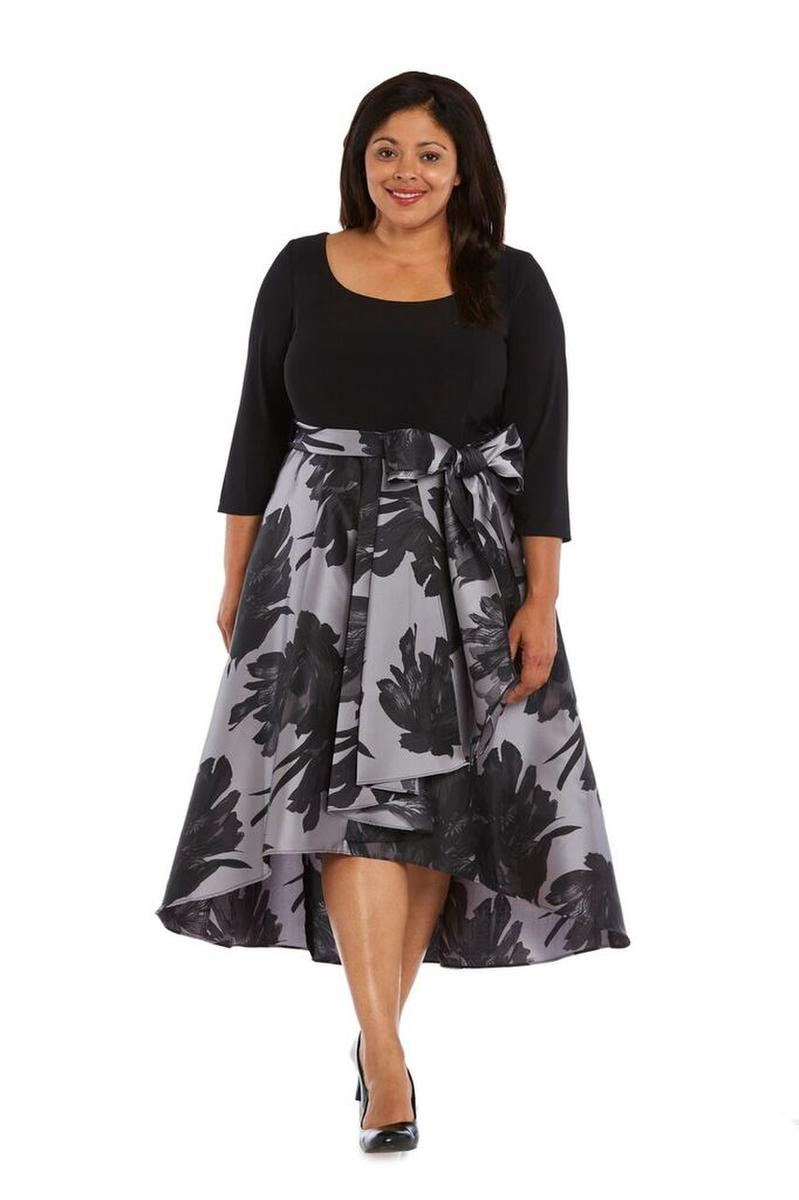 R & M Richards - Satin Print High Low Dress