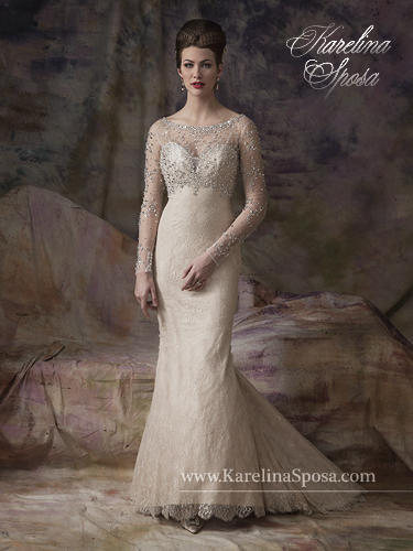 Marys Bridal - Long-Sleeved Embellished Lace Sheath