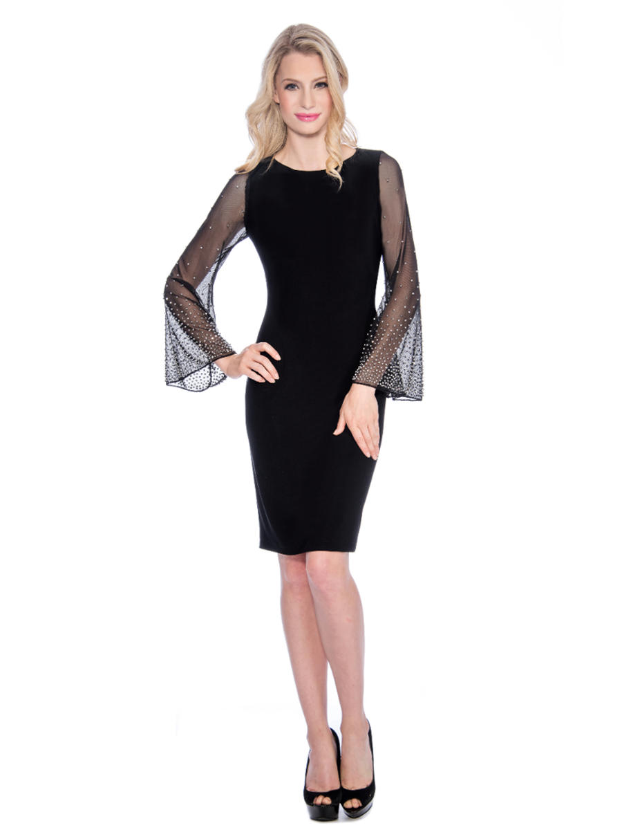 CACHET - Embellished Illusion Long Sleeve Jersey Dress