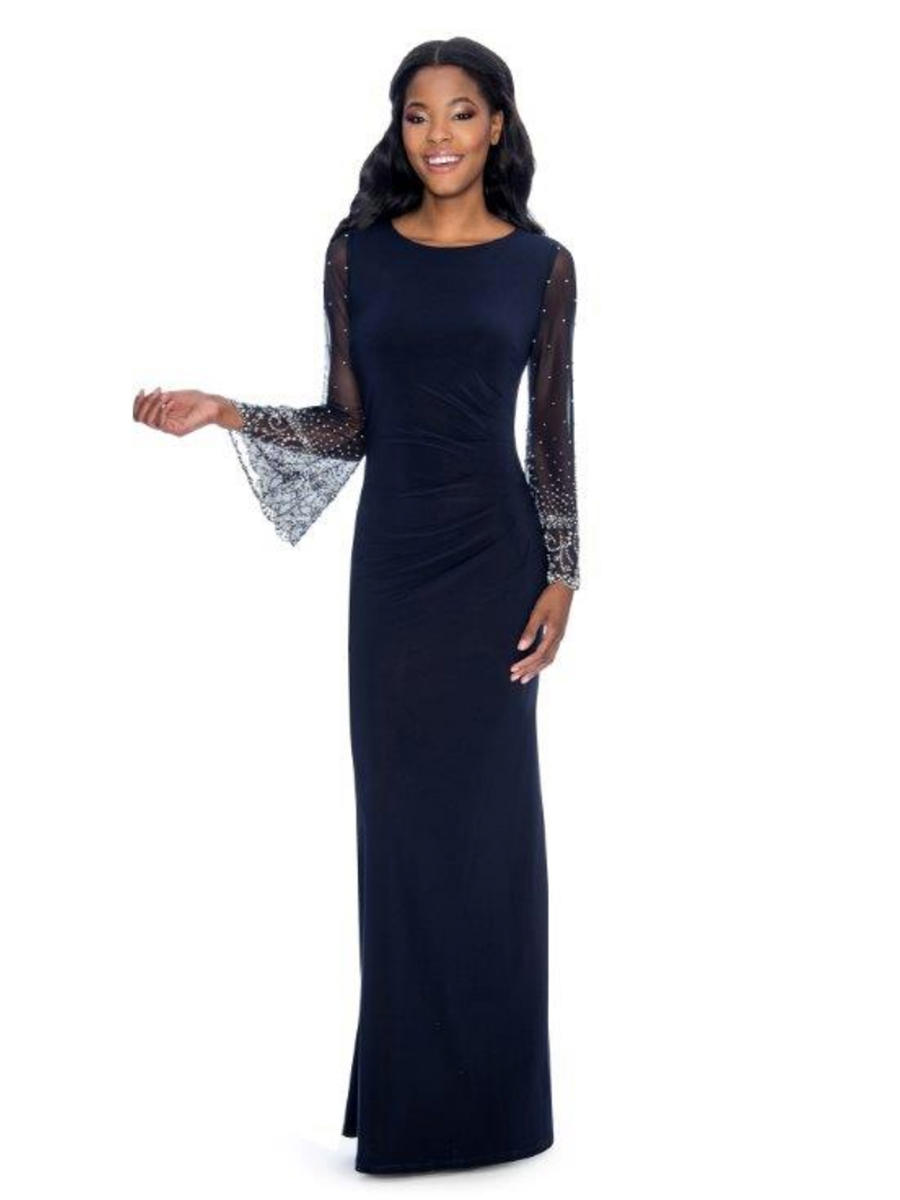 CACHET - Jersey Gown Beaded Sheer Bell Sleeves