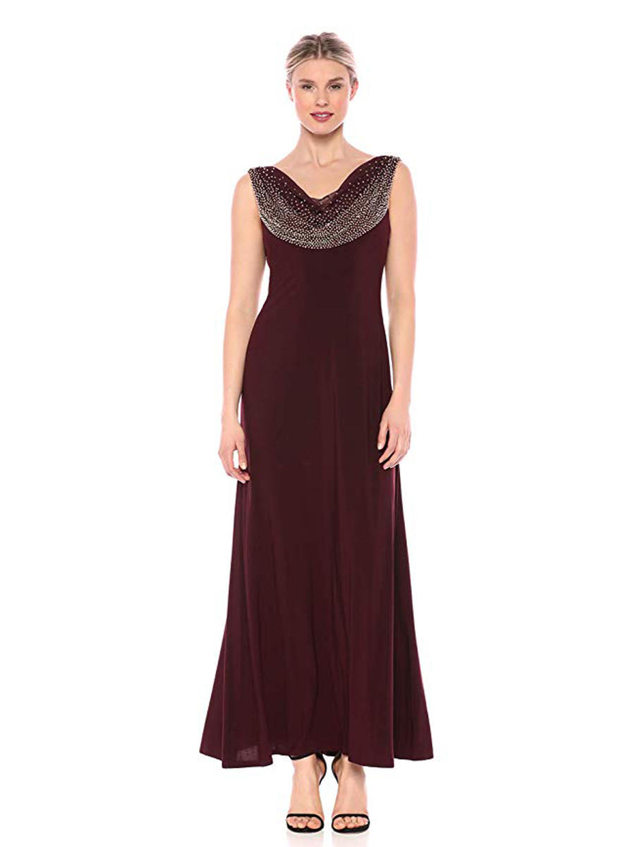 CACHET - Sleeveless Draped Neck Jersey Gown