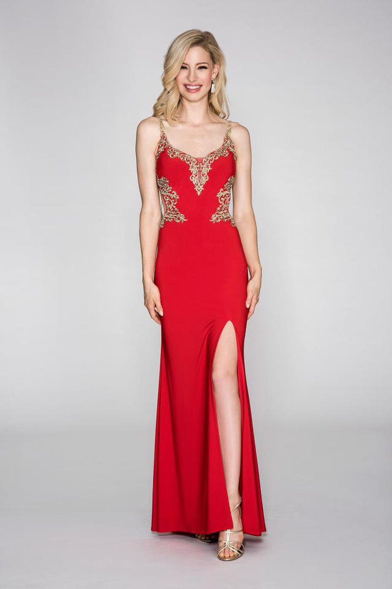 CACHET - Embroidered Open Back Jersey Gown with Side Slit