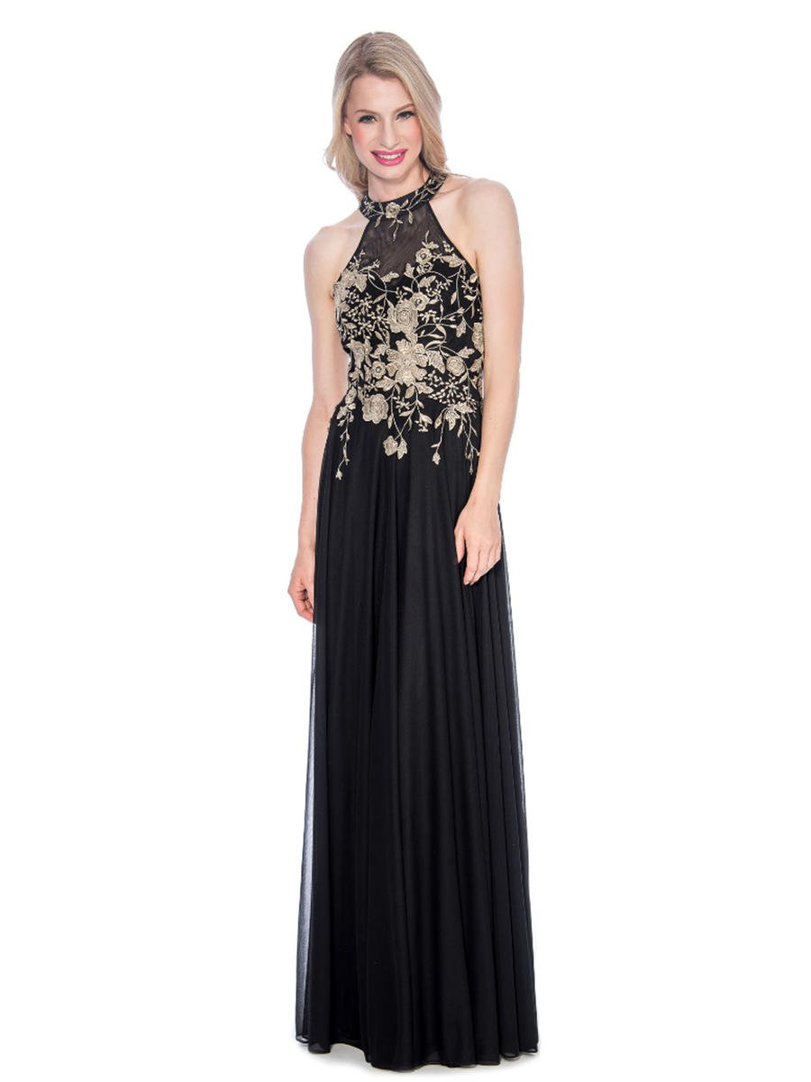 CACHET - Jersey Embroidered Beaded Bodice Halter Neck Gown