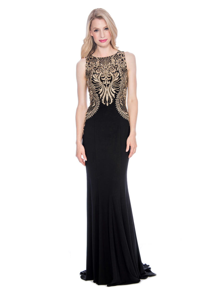 CACHET - Jersey Embroidered Beaded Bodice Gown