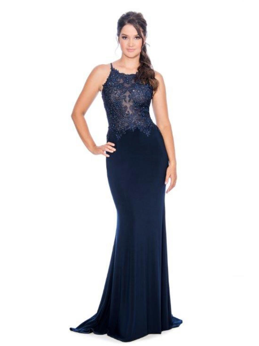 CACHET - Jersey Gown Embroidered Bead Bodice