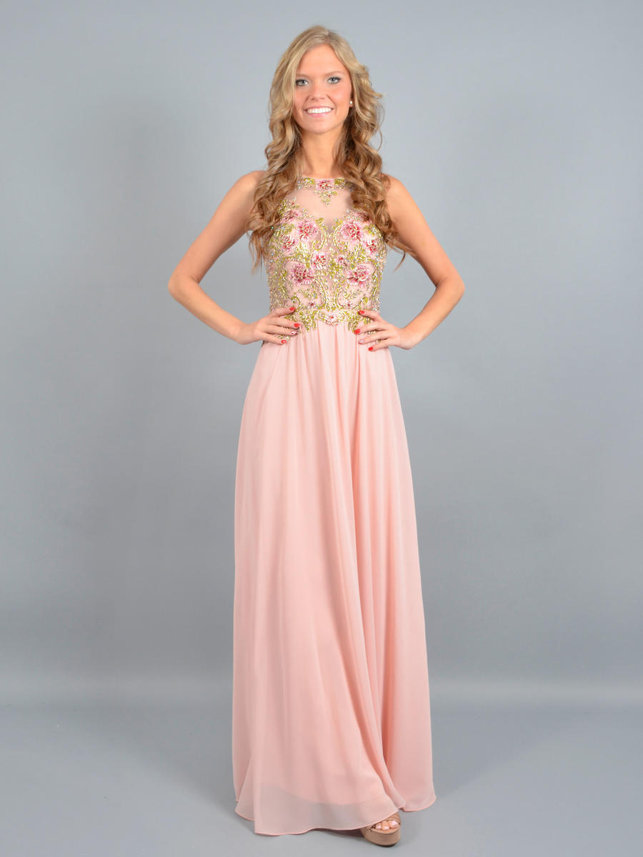 CACHET - Beaded Chiffon Open Back Illusion Gown