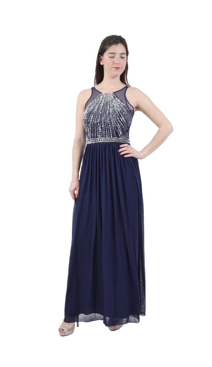 CACHET - Beaded Chiffon Illusion Gown