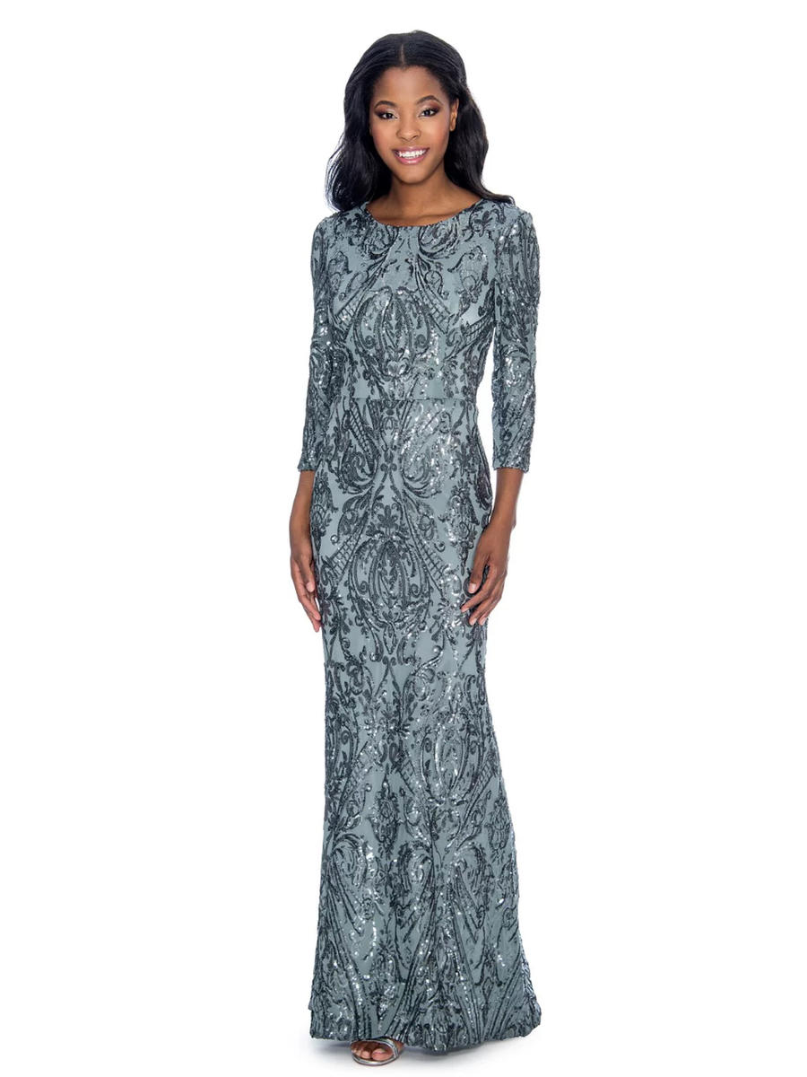 CACHET - Long Sleeve Mesh/Sequin Gown