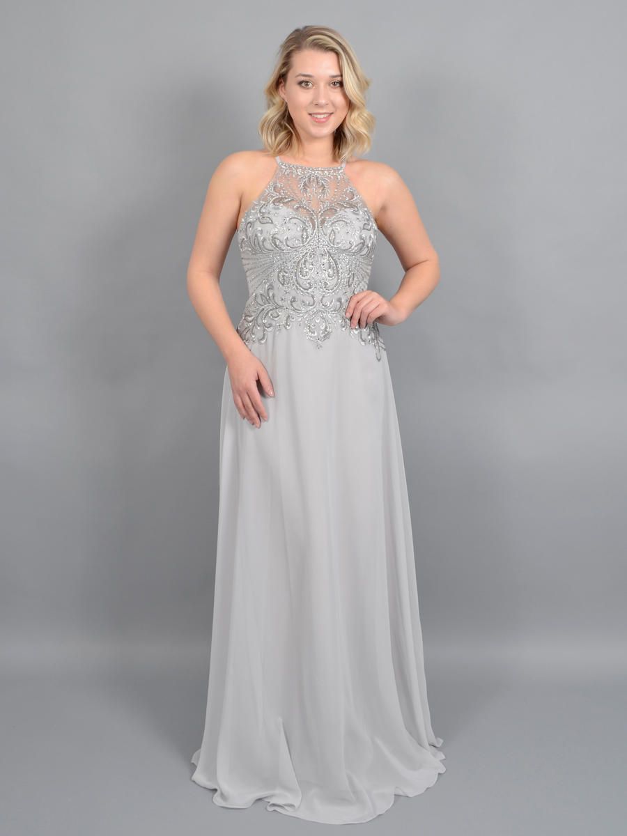 CACHET - Chiffon Gown Embroidered Bead Bodice