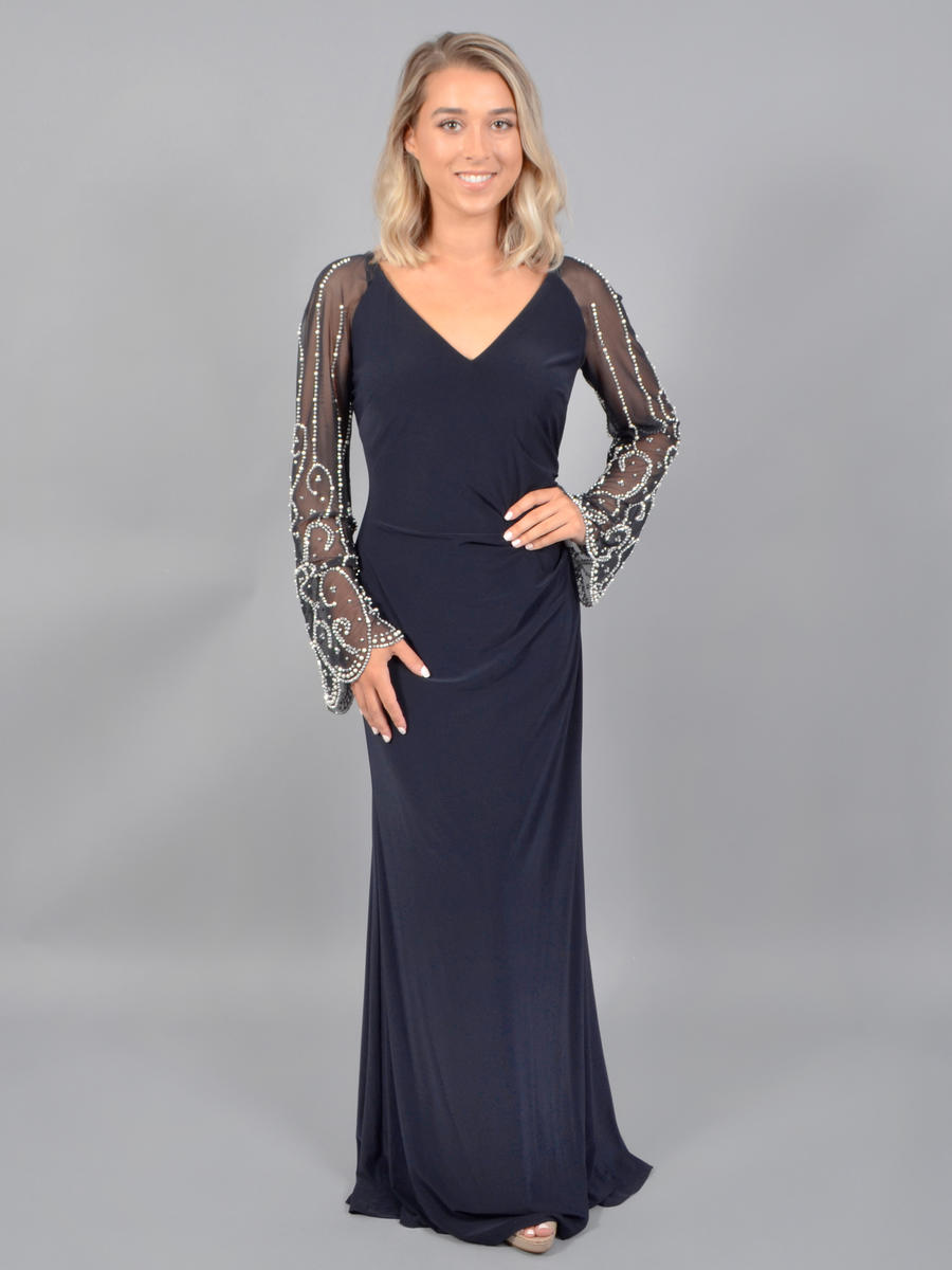 CACHET - Sheer Bead Long Sleeve Lycra Gown