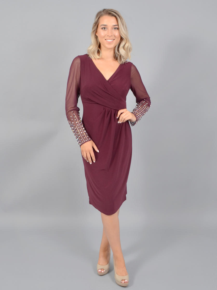 CACHET - Sheer Bead Long Sleeve Lycra Dress