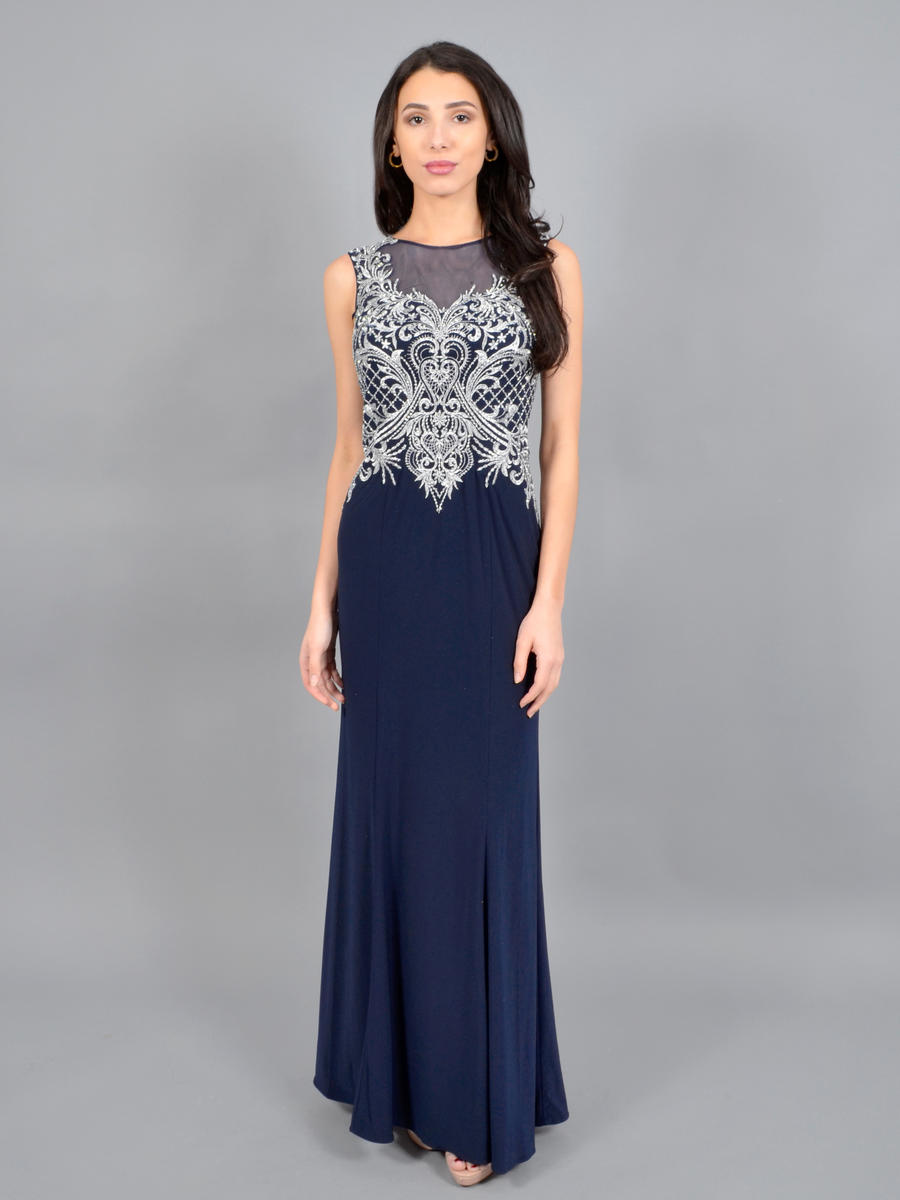 CACHET - Embroidered Beaded Bodice Lycra Gown