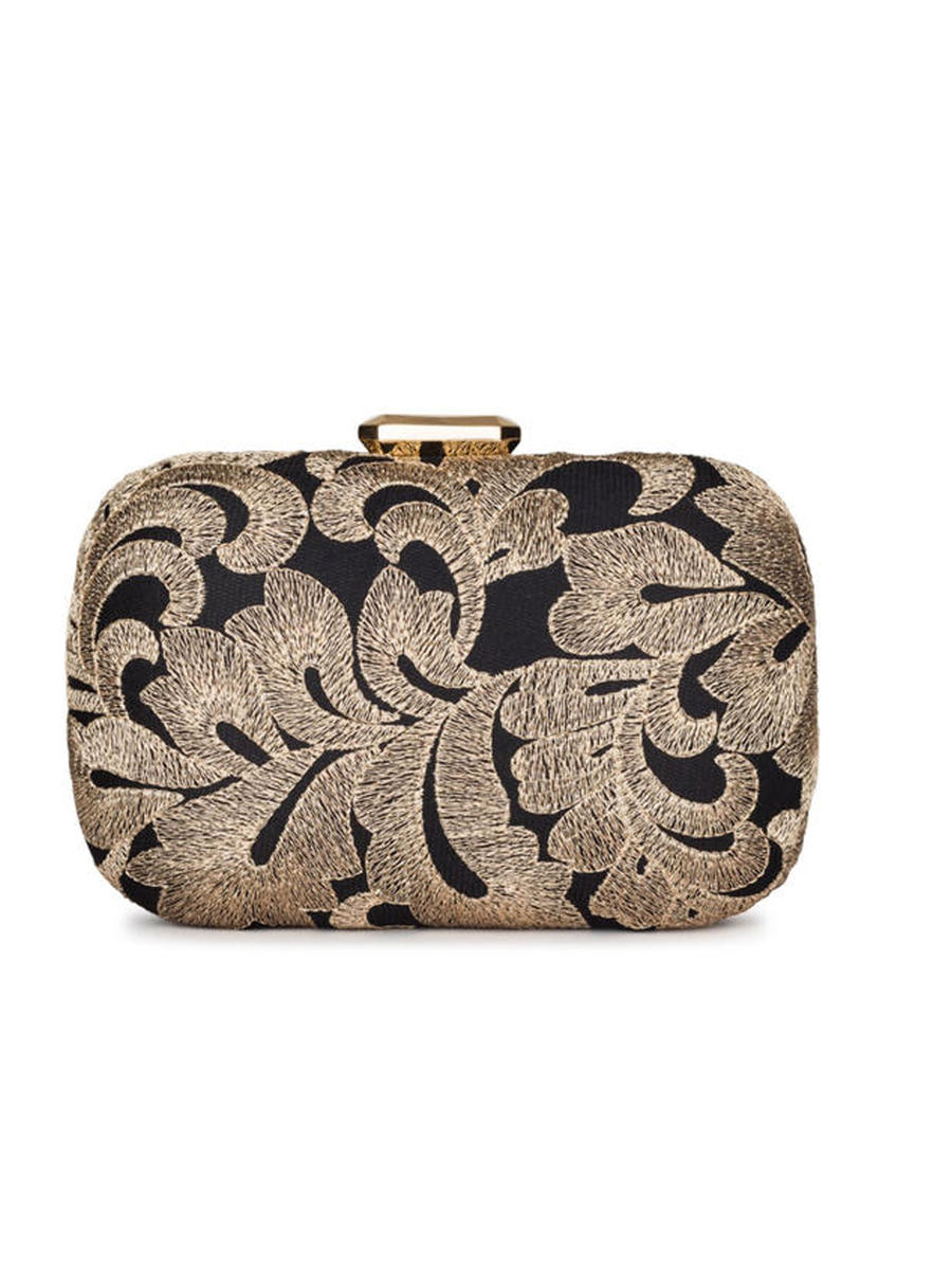 CARLO FELLINI (R&S ACCESORIES) - Embroidered Metallic Snap Lock Clutch