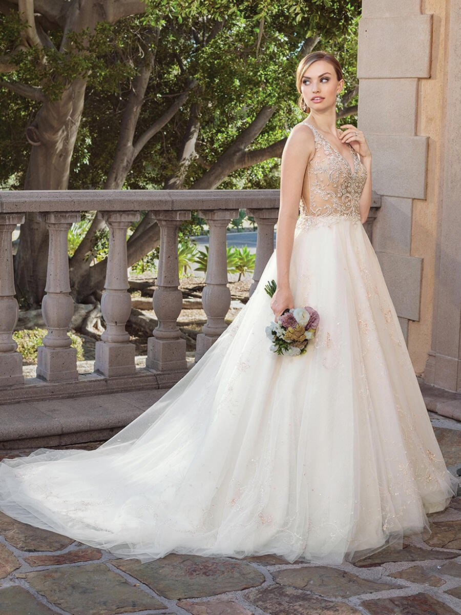 Casablanca - Embellished V-Neck A-Line Illusion Gown