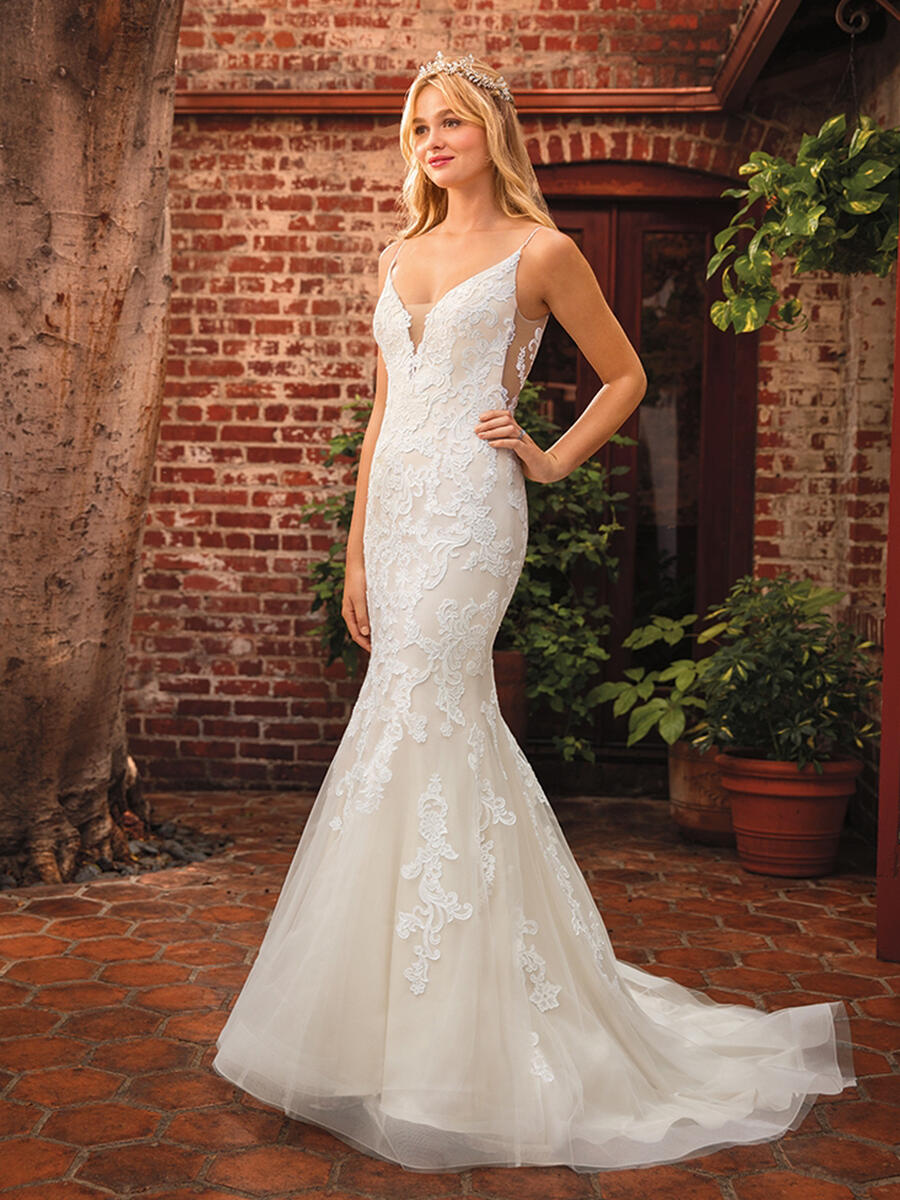 Casablanca - Embroidered Lace Spaghetti Strap Bridal Gown