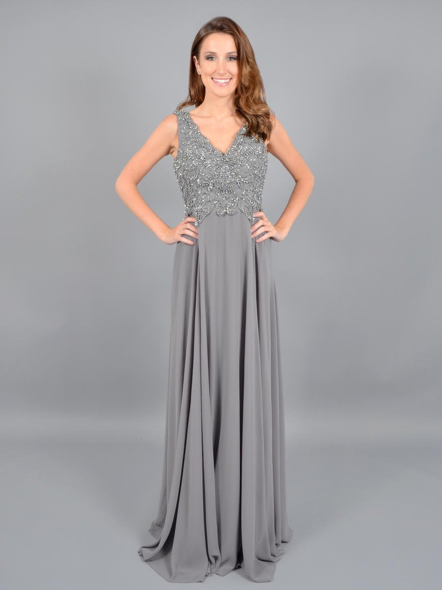 Cenker - Chiffon Gown Beaded Bodice