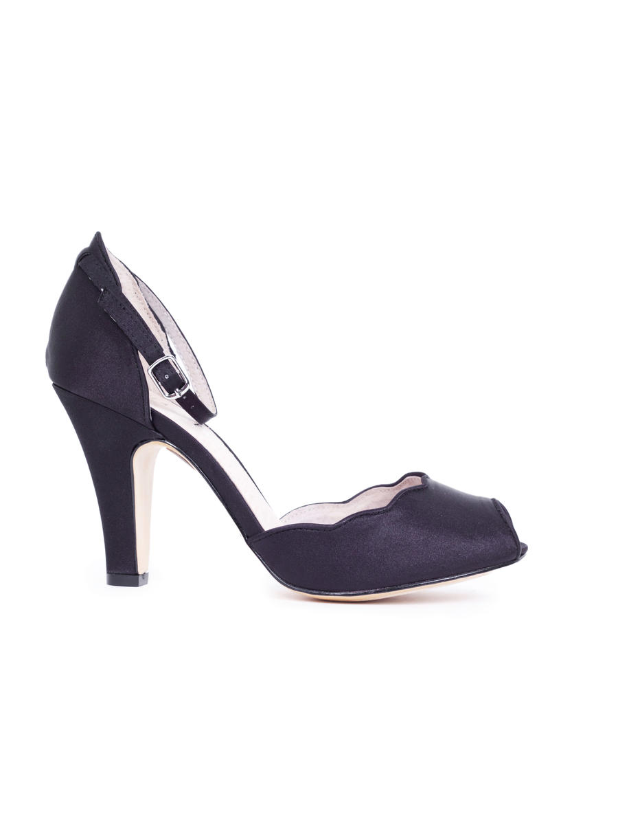 CHELSEA CREW  / Demfon International - Scalloped Satin Peep-Toe Pump