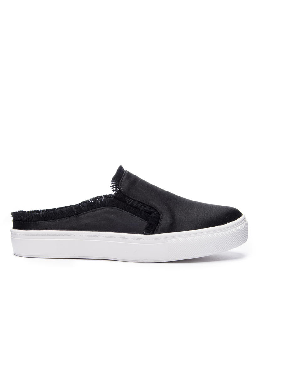CHINESE LAUNDRY - Fringed Satin Platform Slide Sneaker