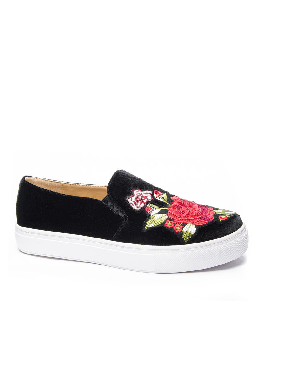CHINESE LAUNDRY - Velvet Floral Embroidered Sneaker JIANA