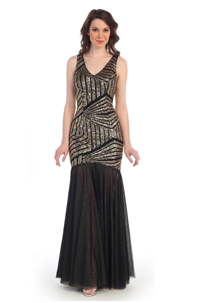 CINDY COLLECTION USA - N/O Sequined Tulle V-Neck Fit & Flare Gown
