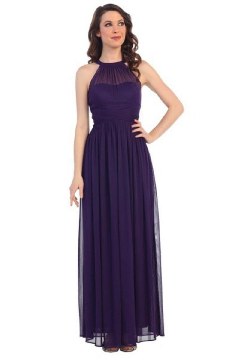 CINDY COLLECTION USA - Chiffon Halter Neck Illusion Gown