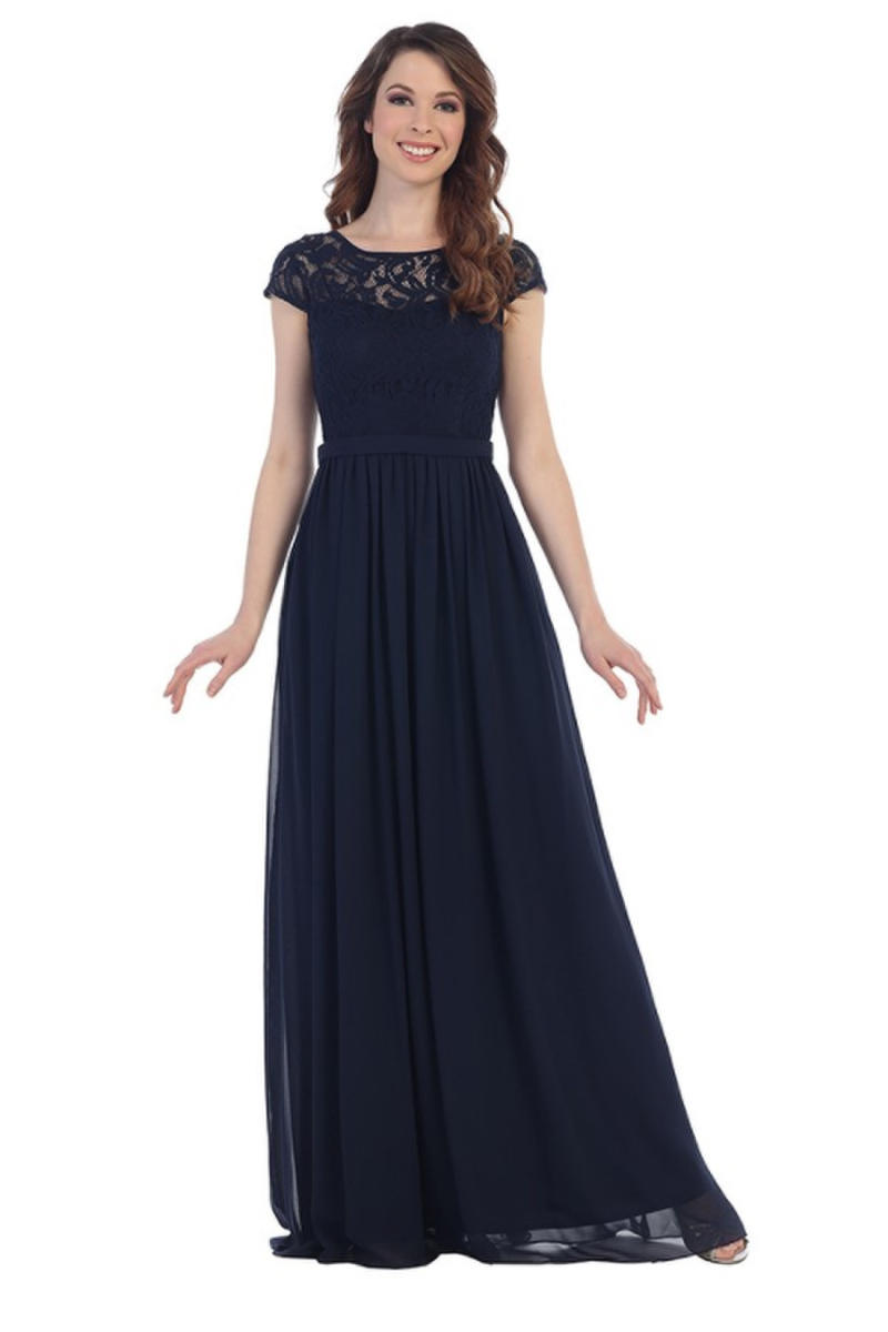 CINDY COLLECTION USA - Lace & Chiffon Cap Sleeve Gown