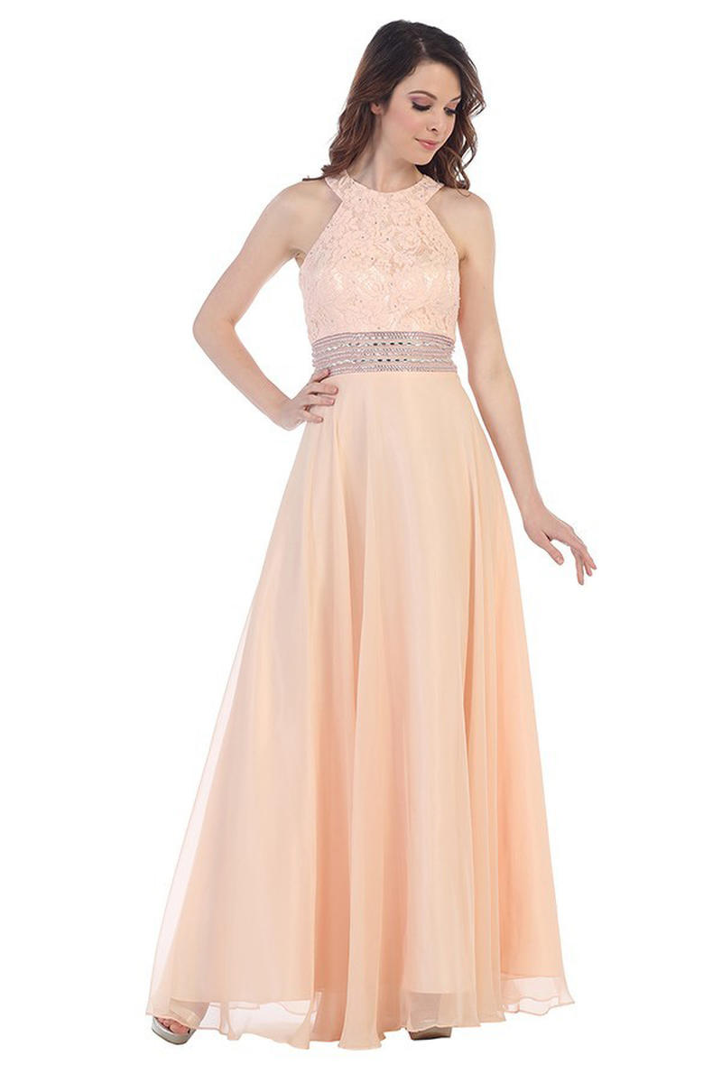 CINDY COLLECTION USA - Lace & Chiffon Halter Neck A-Line Gown