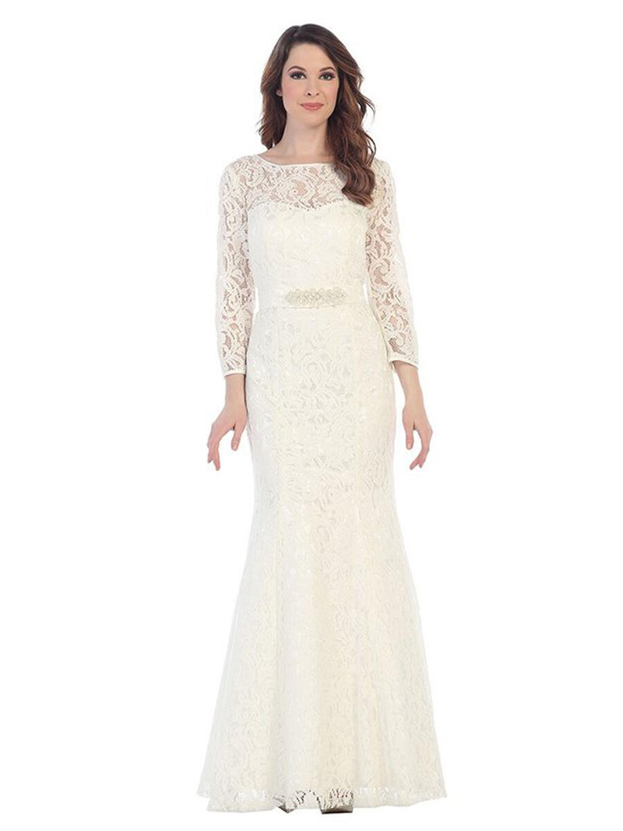 CINDY COLLECTION USA - Long Sleeve Lace Gown-Bead Bodice 1516