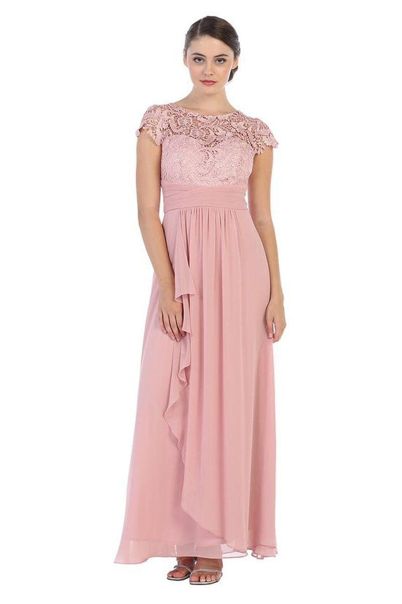 CINDY COLLECTION USA - Short-Sleeved Lace & Chiffon A-Line Gown