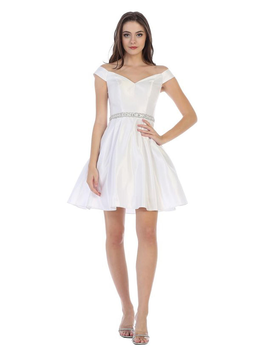 CINDY COLLECTION USA - Satin Beaded Waist Fit & Flare Dress