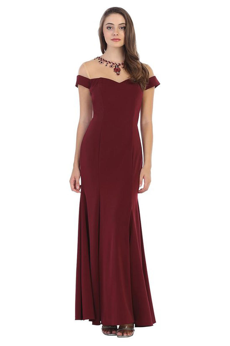 CINDY COLLECTION USA - Solid Off-the-Shoulder Jersey Gown