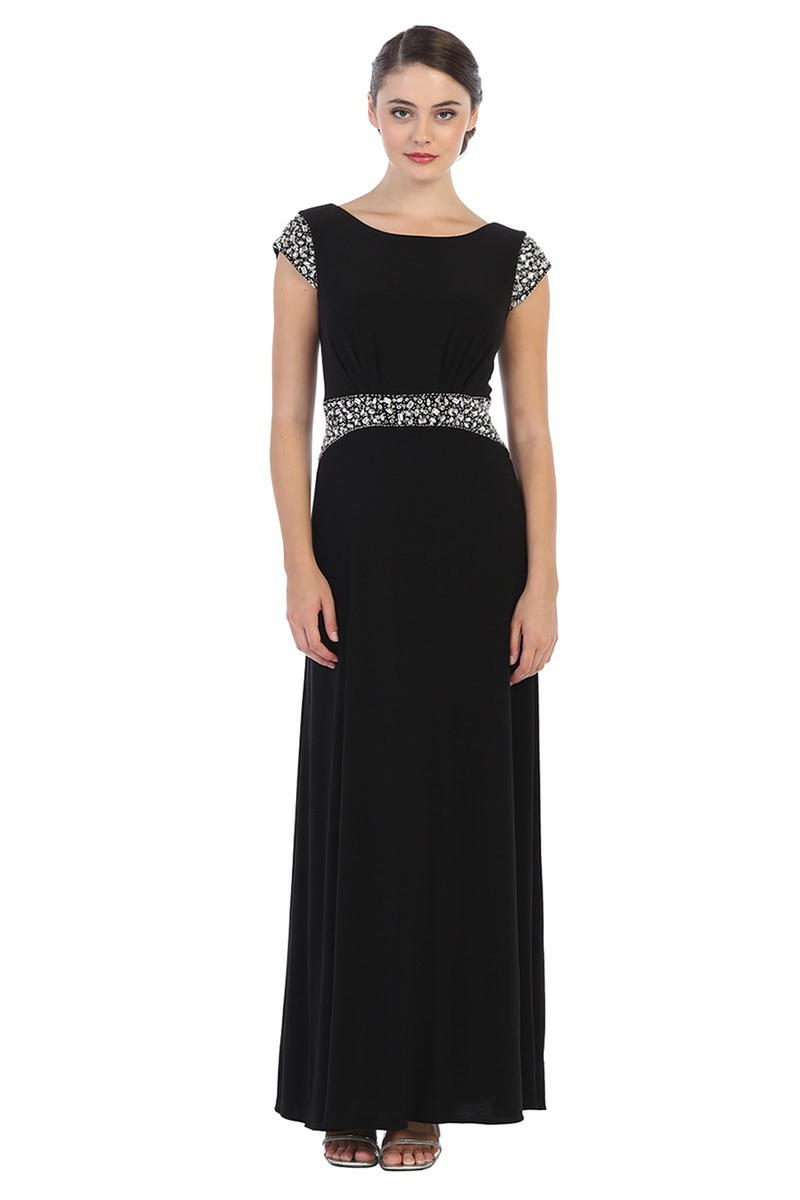 CINDY COLLECTION USA - Beaded Cap Sleeve Jersey Gown