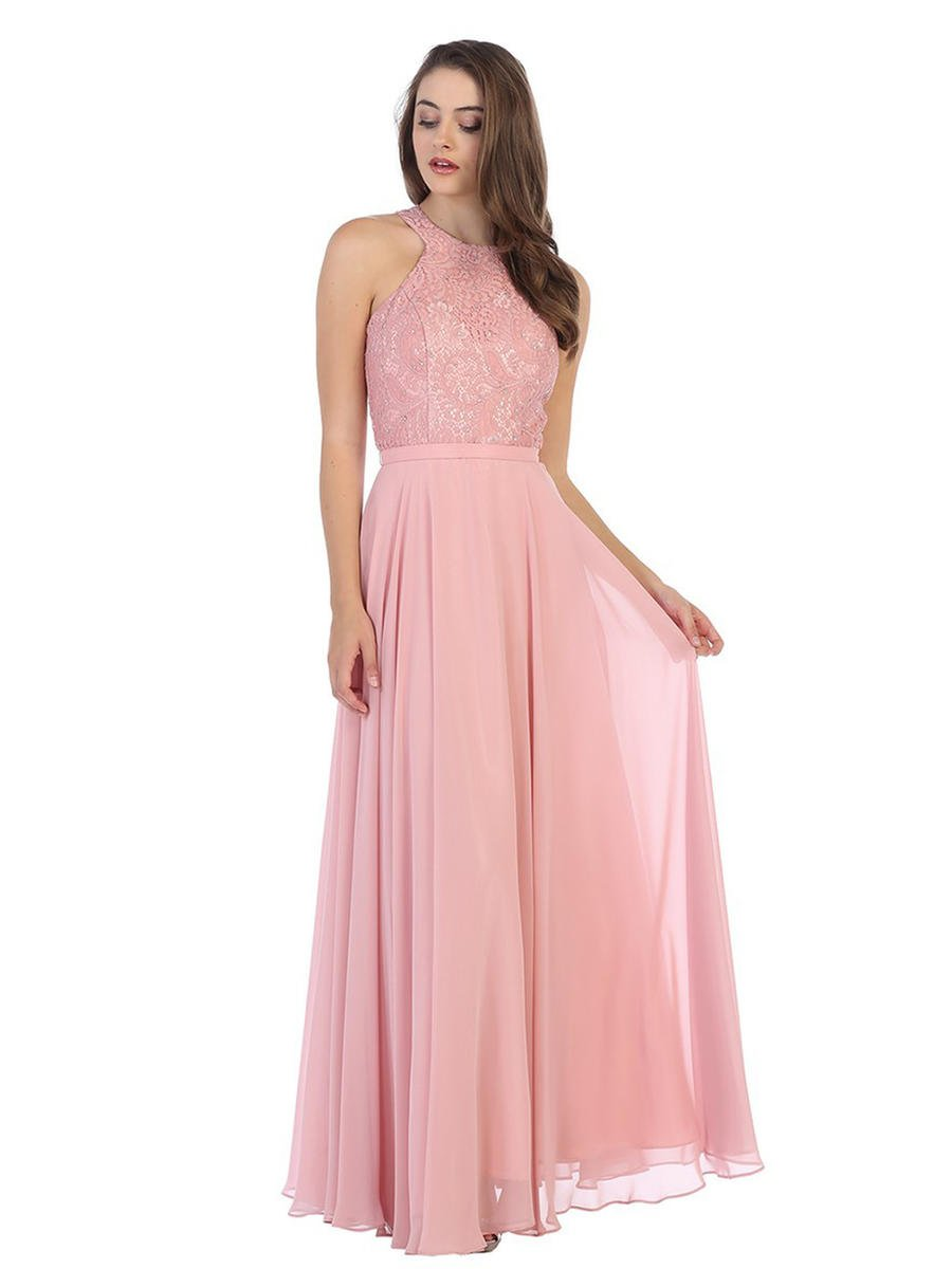 CINDY COLLECTION USA - Lace & Chiffon Halter Neck Gown