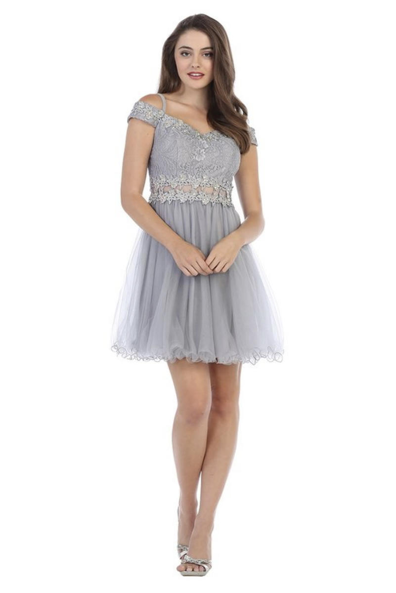Mesh Dress Lace Off Shoulder Bodice