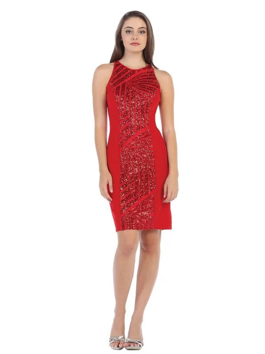 CINDY COLLECTION USA - Sequin High Neck Jersey Sheath Dress