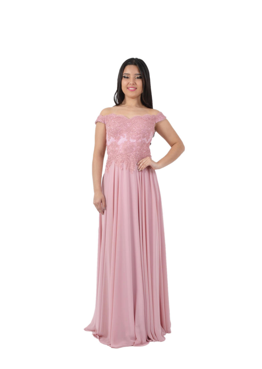 Chiffon Gown Lace Bodice Off Shoulder