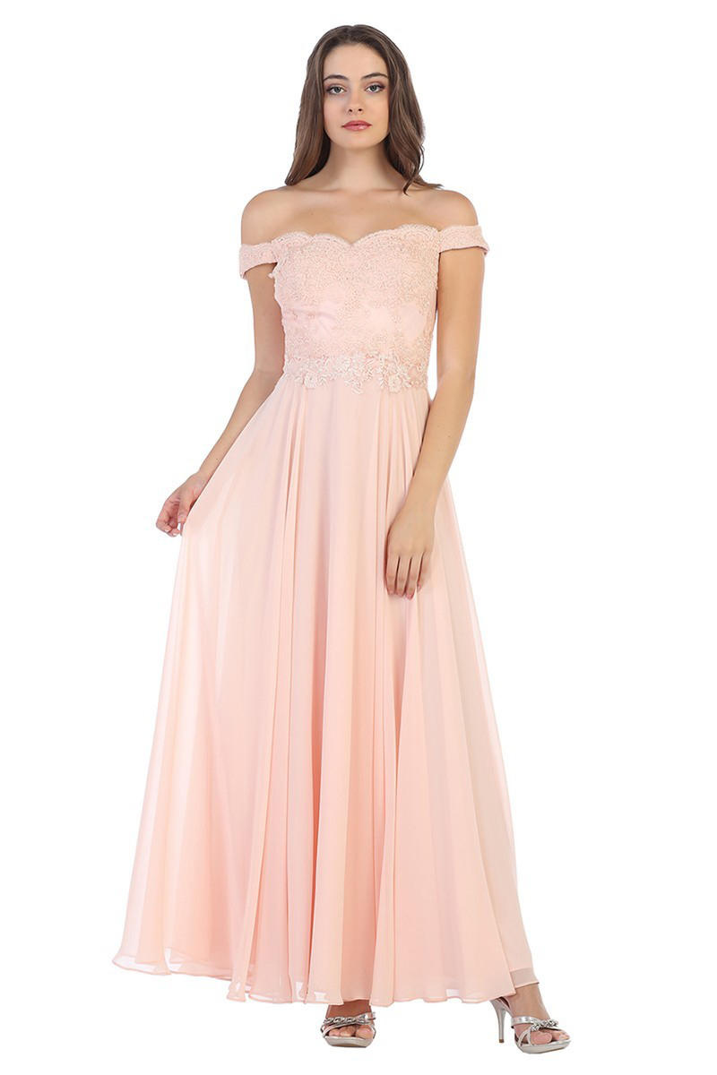 CINDY COLLECTION USA - Embroidered Chiffon Off-the-Shoulder A-Line Gown