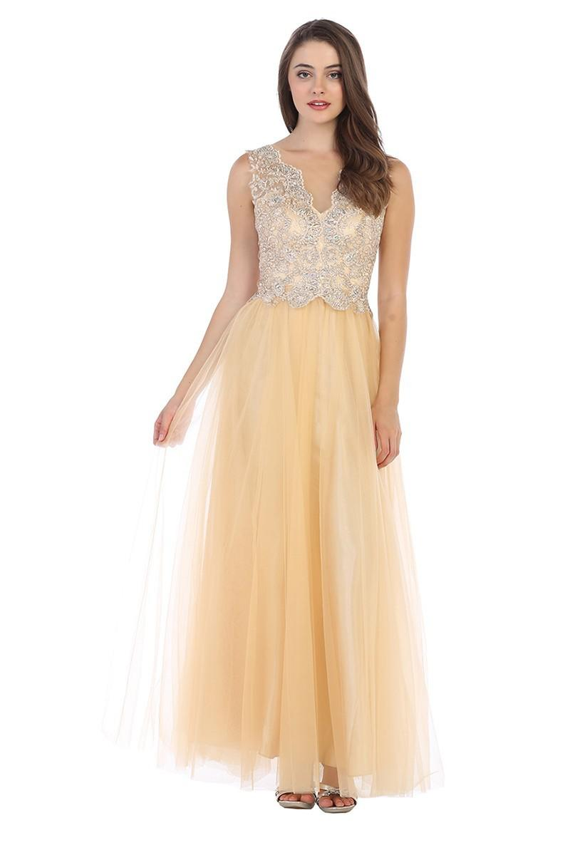 CINDY COLLECTION USA - Sleeveless Embellished Tulle Illusion Gown