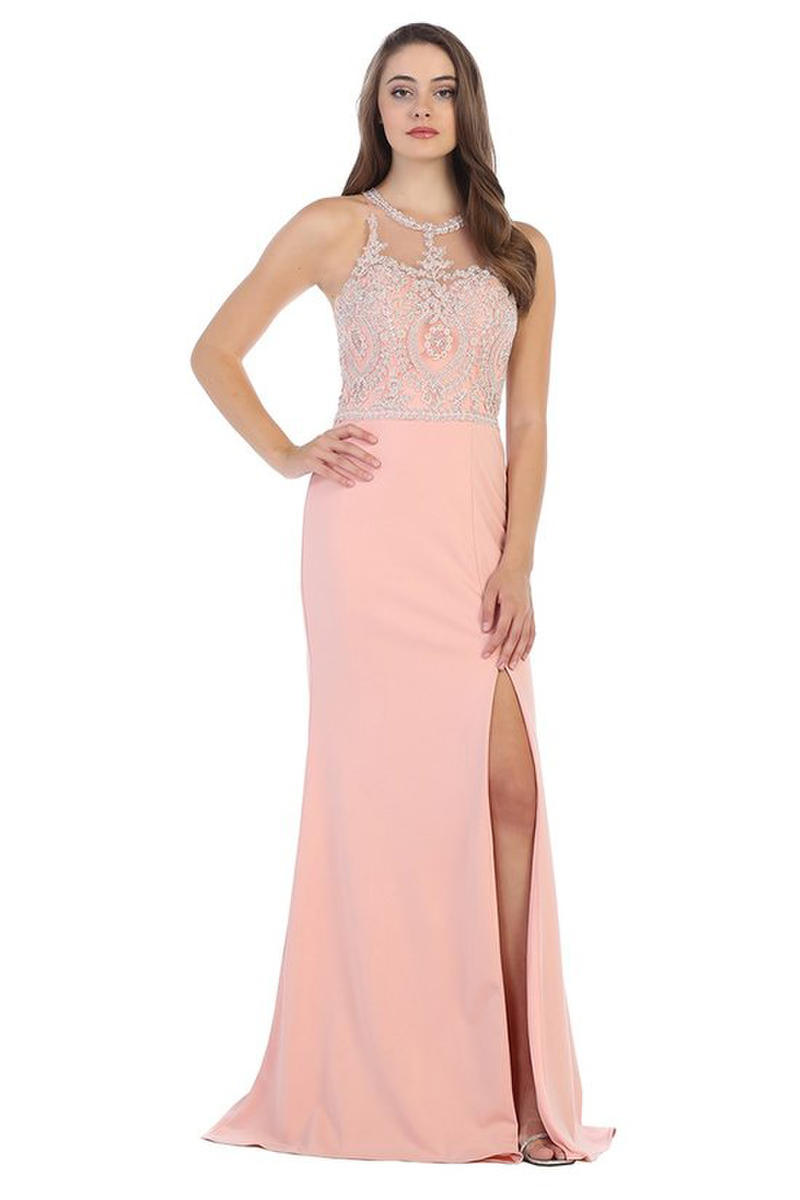 CINDY COLLECTION USA - Embroidered Jersey Illusion Gown with Side Slit