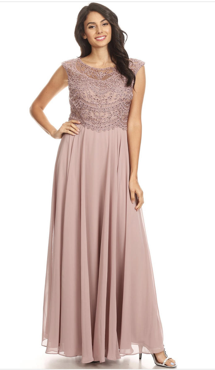 Chiffon Gown Beaded Bodice With Scarf