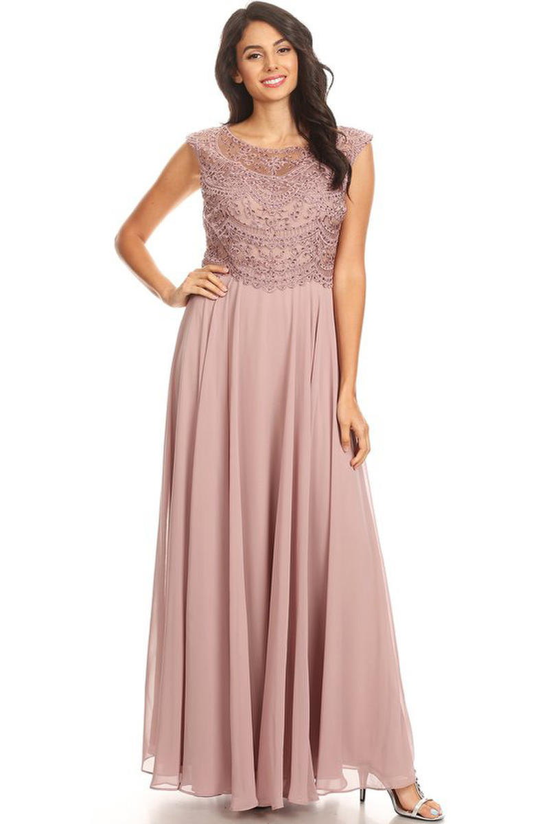 CINDY COLLECTION USA - Beaded Chiffon Cap Sleeve Illusion Gown