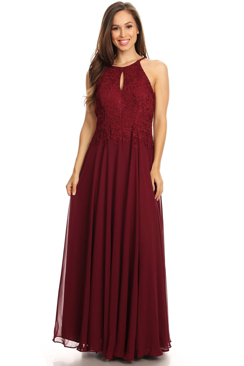 CINDY COLLECTION USA - Embroidered Chiffon Halter Neck Gown