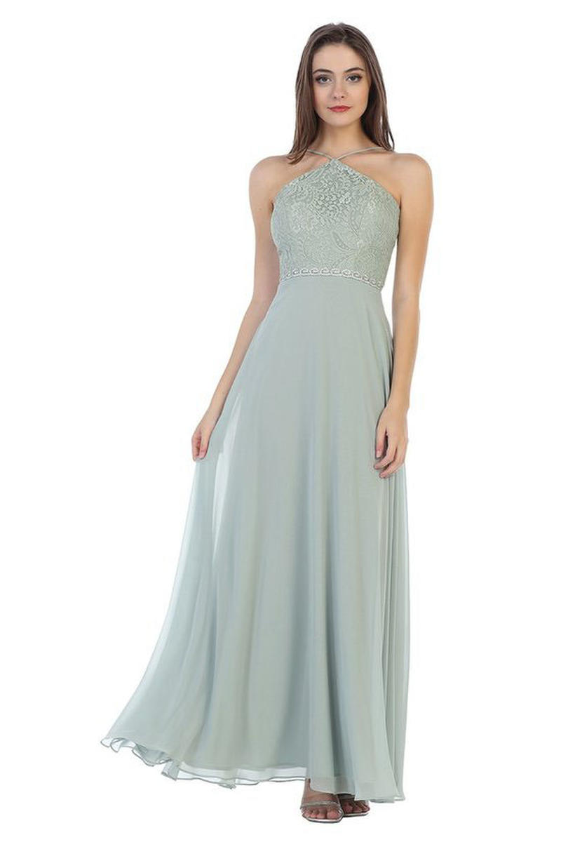 CINDY COLLECTION USA - Jersey Lace Bodice Halter Neck Gown