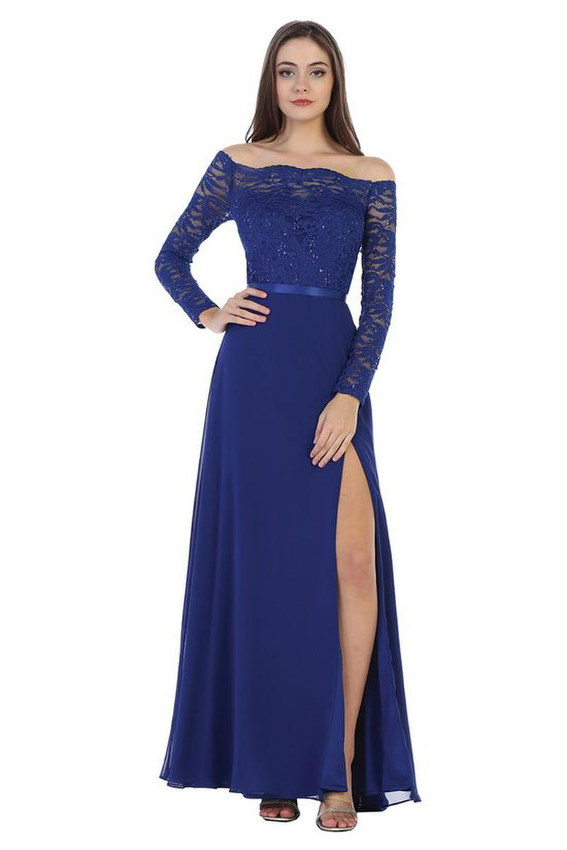 CINDY COLLECTION USA - Long Sleeve Off Shoulder Chiffon Gown