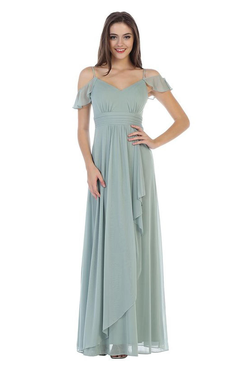 CINDY COLLECTION USA - Chiffon Gown Off Shoulder-Pleat Waist