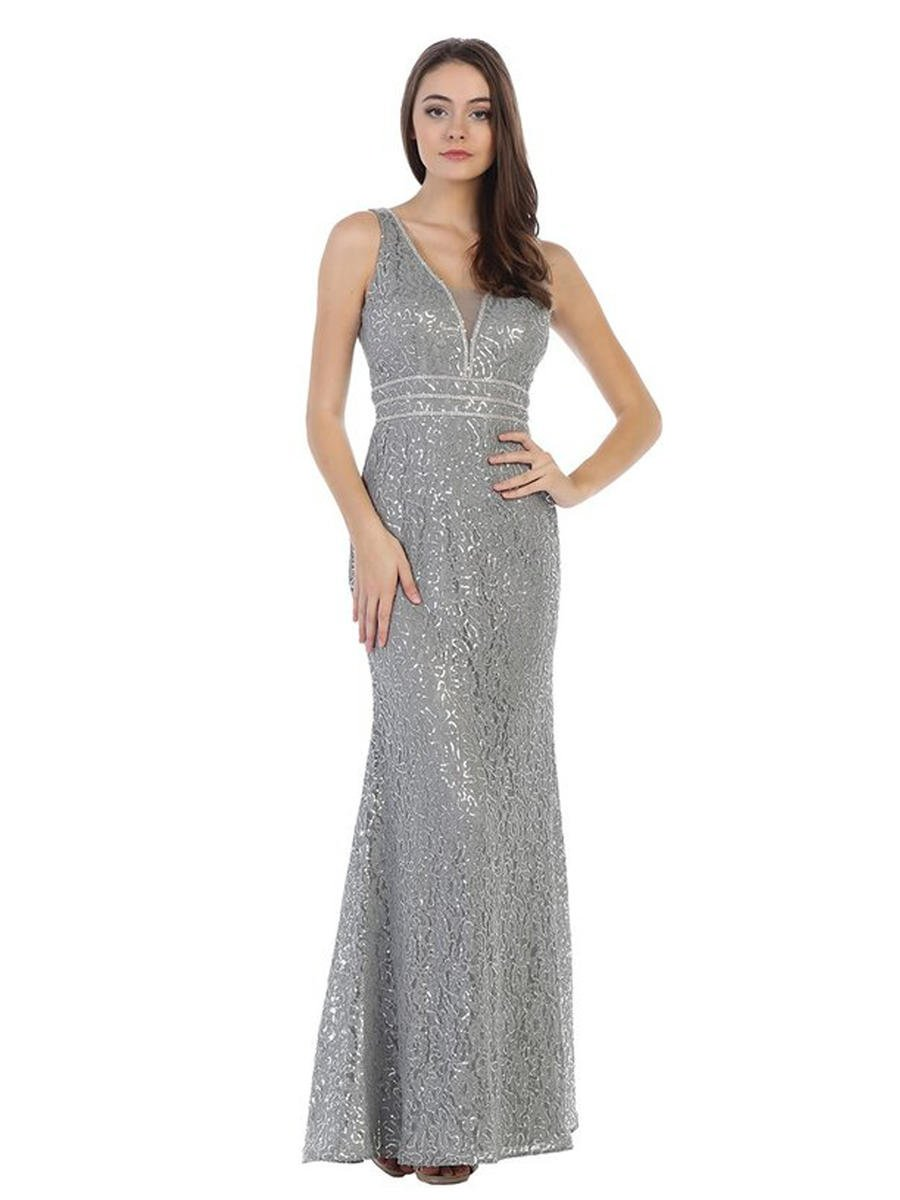 CINDY COLLECTION USA - Sequin Gown V-Neckline