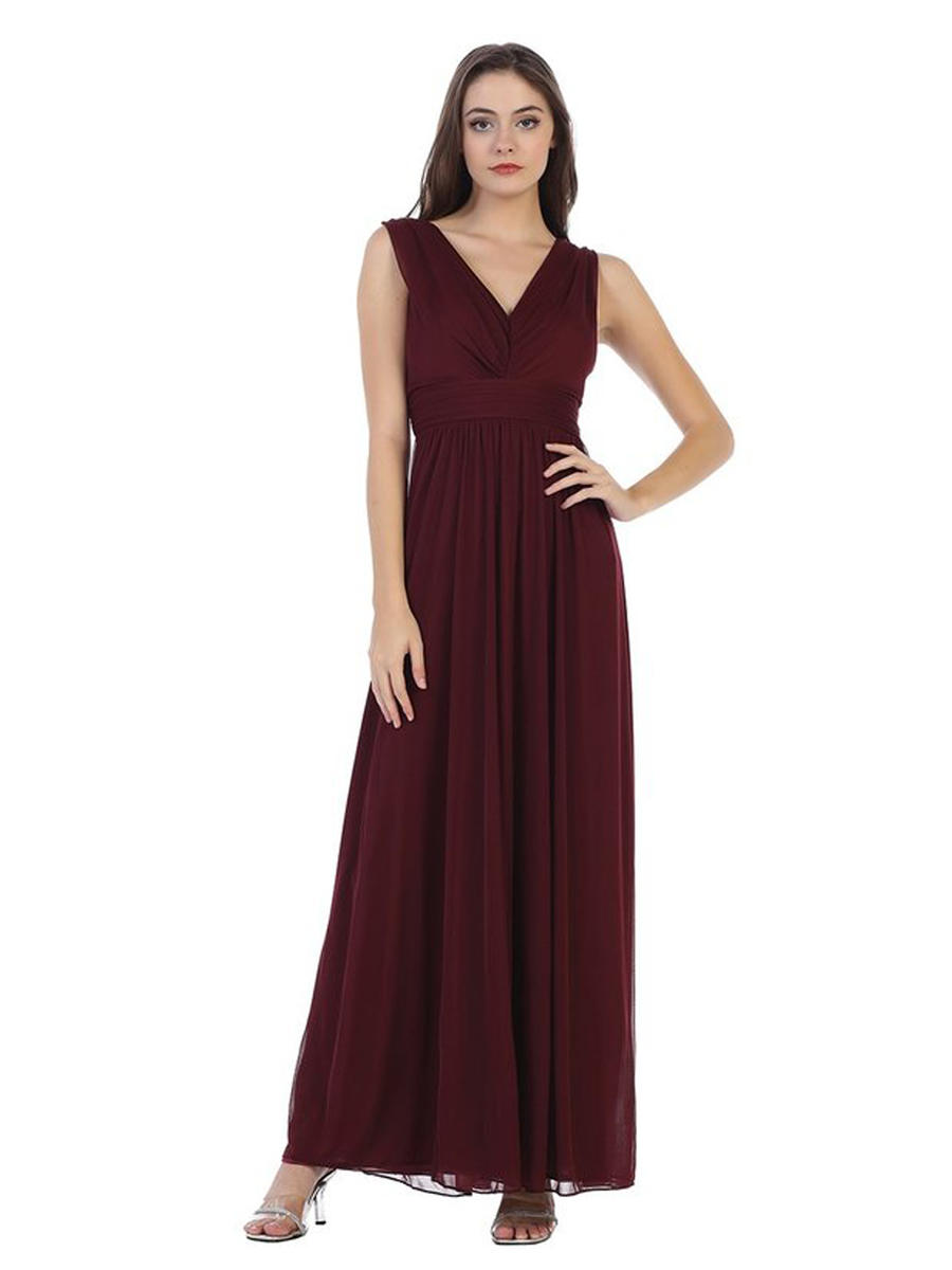 CINDY COLLECTION USA - V-Neck Chiffon Gown w/ Shawl