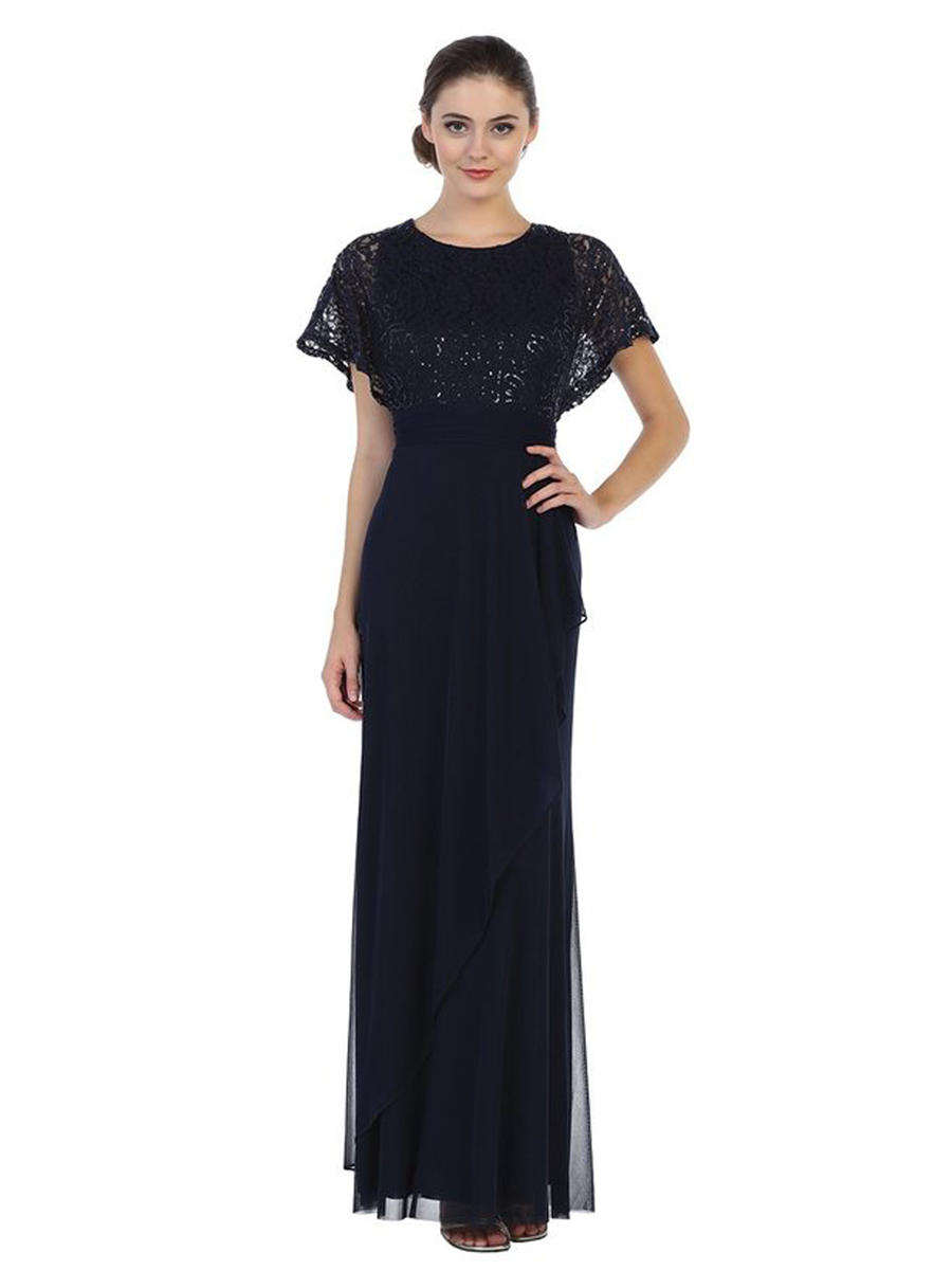 CINDY COLLECTION USA - Chiffon Gown Sequin Boddess